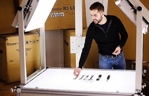 product photography light table for clothes shots