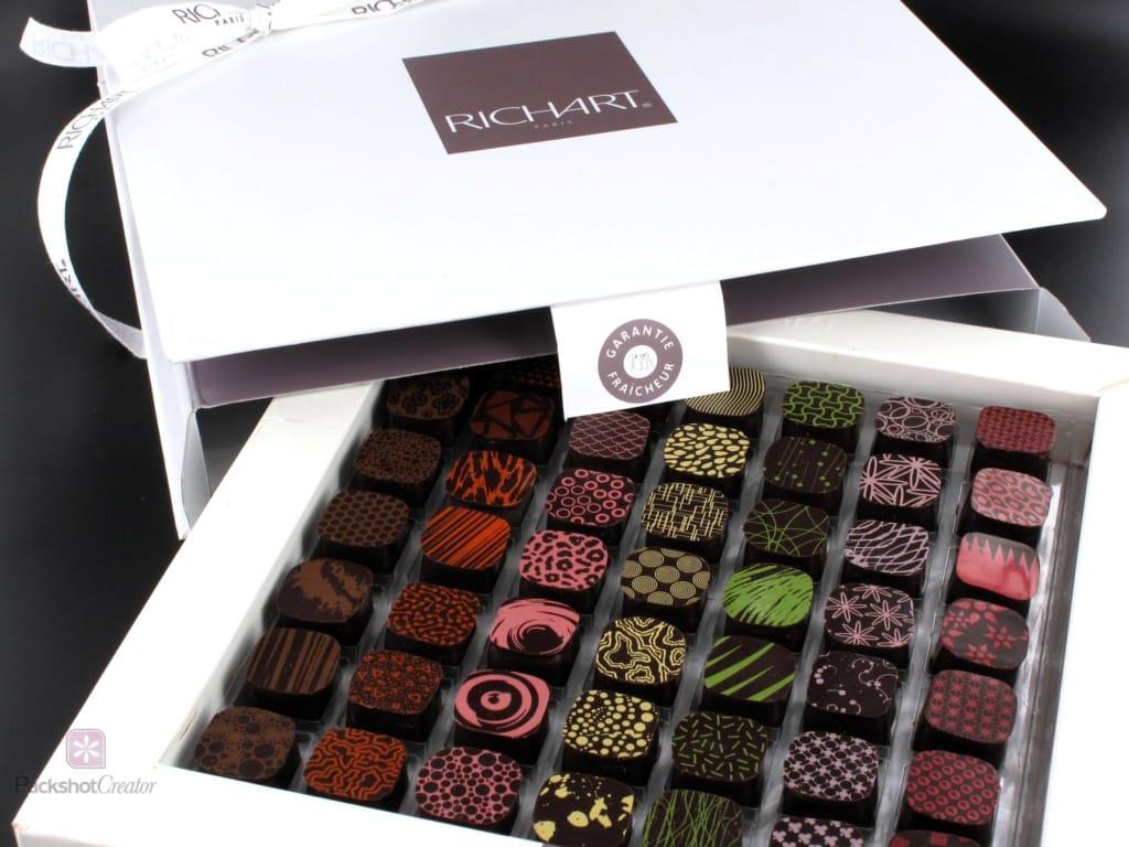 wie man eine Schachtel Schokolade für den E-Commerce fotografiert