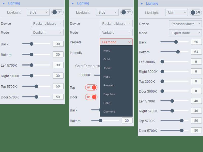 choose your saved favorite lighting settings or choose a preset