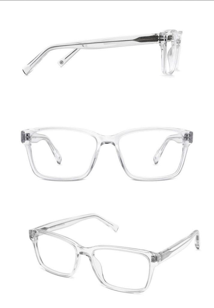photographie de lunettes transparentes pour un site de e-commerce