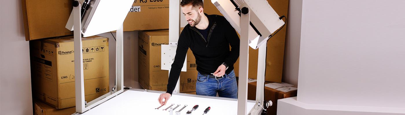 Packshot-Studio-Grad für Werkzeug und Industriebauteile