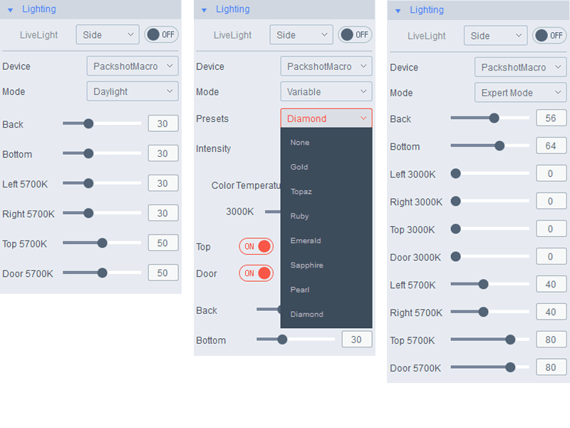 choose your saved favorite lighting settings or choose a preset