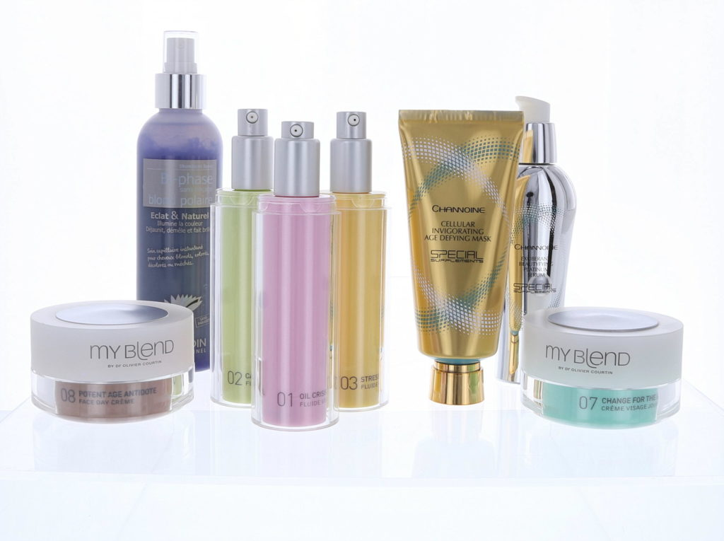 range of beauty products photographed for e-commerce purposes