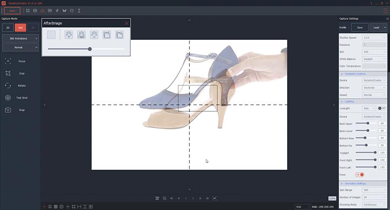Positionieren Sie den Schuh in Ihrem Fotostudio