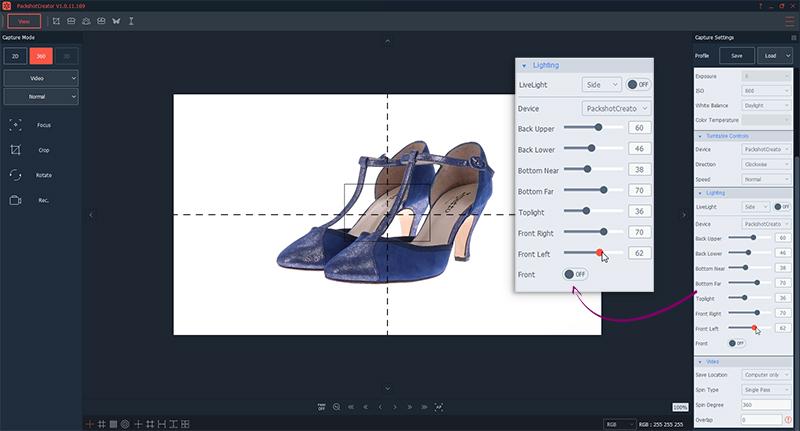 Schaffen Sie die ideale Lichtatmosphäre für das 360°-Video der Schuhe
