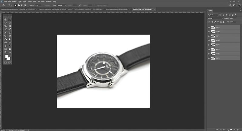 Importieren Sie Ihre Fotos in Photoshop und bereiten Sie das Zusammenfügen vor