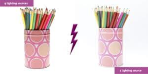 Farbstifte mit sieben Lichtquellen und einer Lichtquelle
