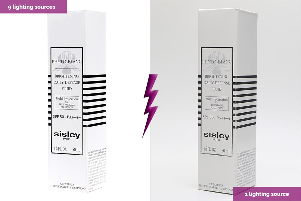 white packaging with 7 lighting sources and 1 lighting source