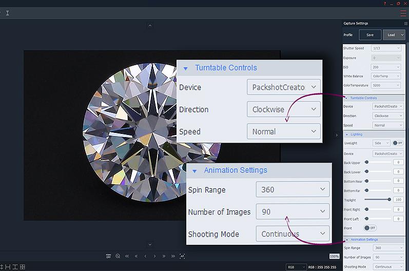 Erstellung einer 360°Ansicht eines Diamanten mit Brillanz mit PackshotMacro DIS