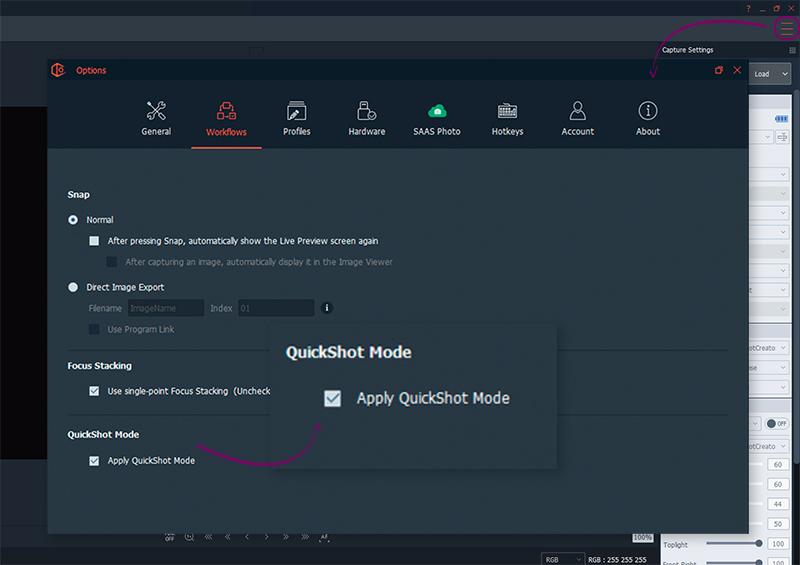 Wie man einen QuickShot-Modus mit der PackshotCreator-Software anwendet