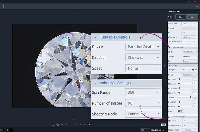 Animationseinstellungen für die vertikale 360° Ansicht von Diamanten