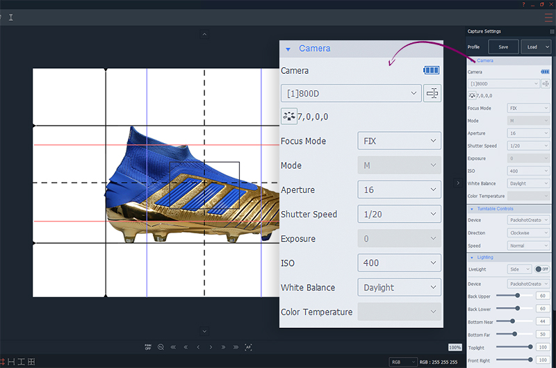 camera setttings for creating a 360 shoes animation with AutoMask