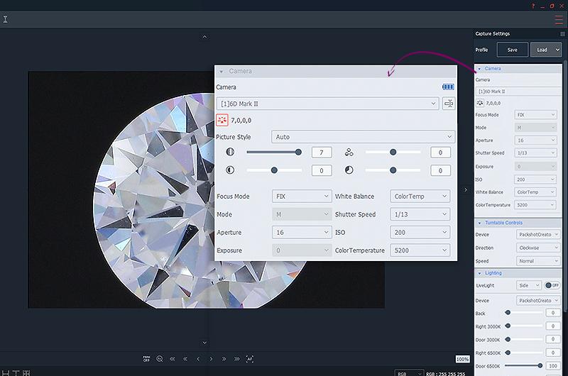 Richtige Kameraeinstellungen für eine vertikale 360 ° Ansicht von Diamanten