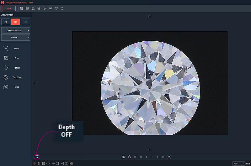 Fokussierung eines Diamanten mit der Software PackshotCreator