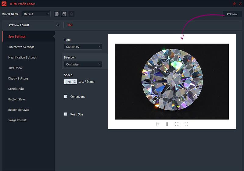 Erstellen eines HTML-Profils für funkelnde Diamanten