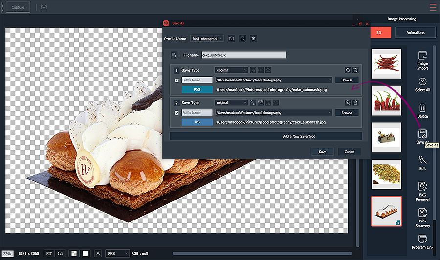 exporting interface of PackshotCreator software