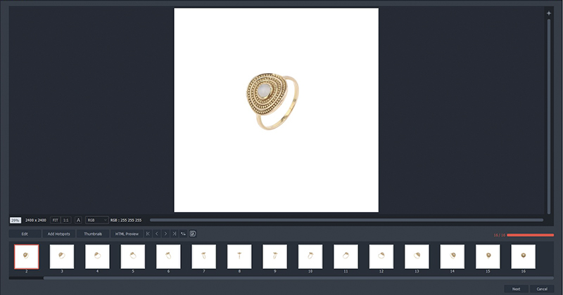 create automatically a 360 view of jewelry with PackshotCreator